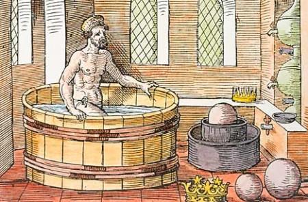 עתה, כשנכנס ארכימדס לאמבטיה, בעיית כתר הזהב פועלת באופן מובלע בתודעתו
